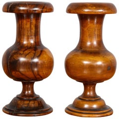 Pair of Turned Walnut Spill Vases