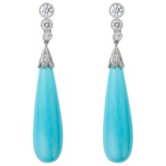 Pair of Turquoise and Diamond Drop Earring