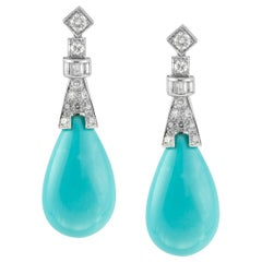 Pair of Turquoise and Diamond Drop Earrings
