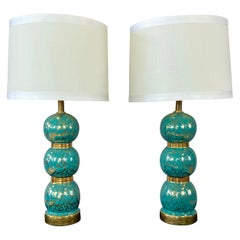 Pair of Turquoise and Gold Ceramic Stacked Ball Table Lamps, 1950s
