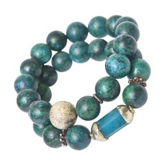 Pair of Turquoise Beaded Bracelets with Silver