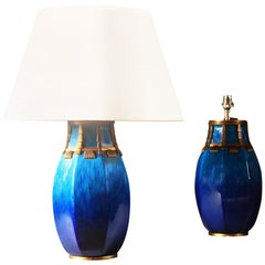 Pair of Turquoise Blue Glaze Table Lamps by Paul Milet, Sevres, Bronze Mounts