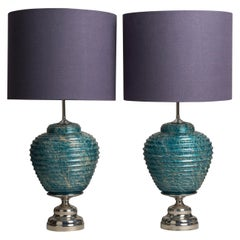 Pair of Turquoise Blue Ribbed Ceramic Lamps, 1970s