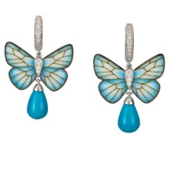Pair of Turquoise Butterfly Earrings by Ilgiz F