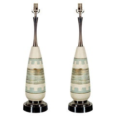 Pair of Turquoise Ceramic Midcentury Lamps