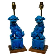 Pair of Turquoise Foo Dog Lamps