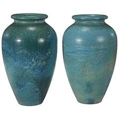 Pair of Turquoise Galloway Jars Three Feet Tall