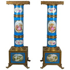 Pair of Turquoise Ground Sèvres Porcelain and Gilt Bronze Pedestals
