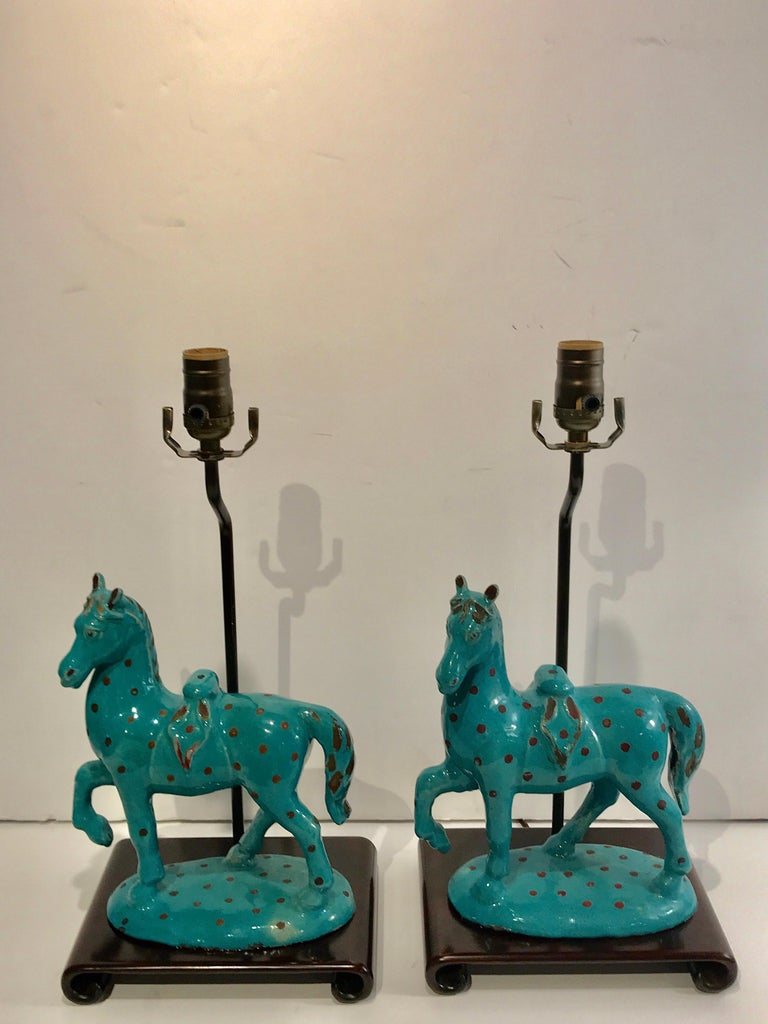 Pair of Turquoise Iznik Style Pottery Horses, Now as Lamps For Sale 8