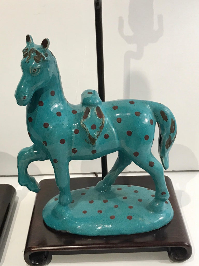 Asian Pair of Turquoise Iznik Style Pottery Horses, Now as Lamps For Sale