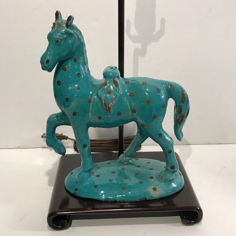 20th Century Pair of Turquoise Iznik Style Pottery Horses, Now as Lamps For Sale