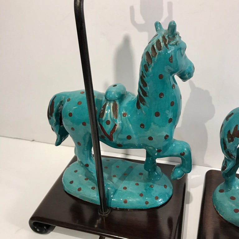 Pair of Turquoise Iznik Style Pottery Horses, Now as Lamps For Sale 3