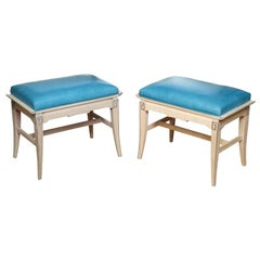 Pair of Turquoise Leather Regency Pagoda Design Stools