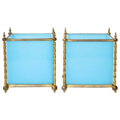 Pair of Turquoise Opaline Baccarat Crystal Ormolu Mounted Jardinière/Cache Pots