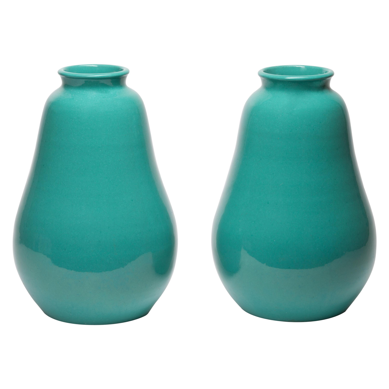 Pair of Art Deco Turquoise Primavera Vases