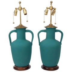 Pair of Turquoise Textured Jug Lamps on Wooden Bases by Chrisopher Spitzmiller