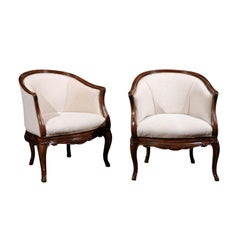 Pair of Tuscan Louis XV Style Walnut Upholstered Club Chairs from Livorno, Italy