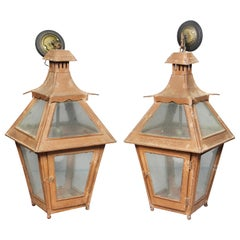 Pair of Tuscan Red Tole Hanging Lanterns