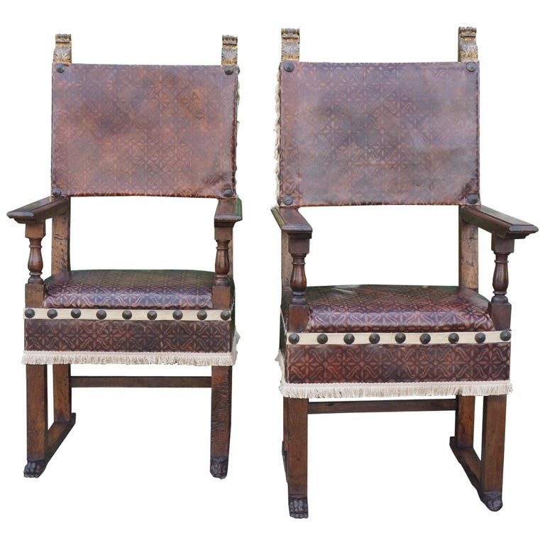 Pair of Tuscan Renaissance Style Walnut Armchairs For Sale