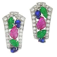 Pair of Tutti-Frutti Clip Earrings