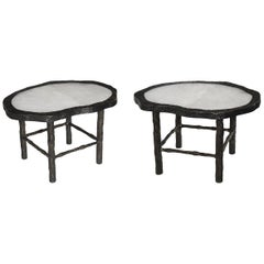 Pair of Two Rock Crystal Quartz Cocktail Tables by Phoenix