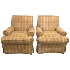 Pair of Tweed Swivel O Henry House Ltd Finely Covered Arm Lounge Chairs