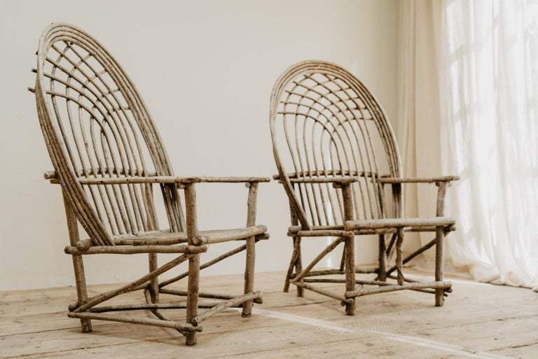 British Pair of Twig Armchairs For Sale