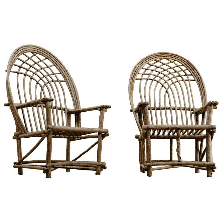 Pair of Twig Armchairs For Sale