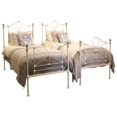 Pair of Twin Antique Brass and Iron Beds MPS36