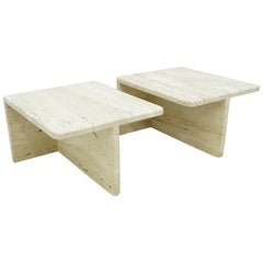 Pair of Twin Travertine Coffee or Side Tables Italy 1970s