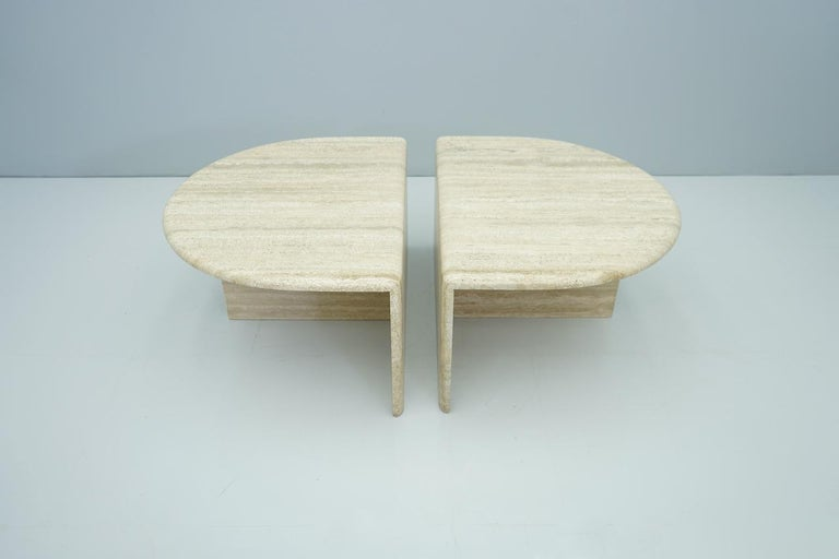 Pair of Twin Travertine Coffee Tables, 1970s For Sale 4