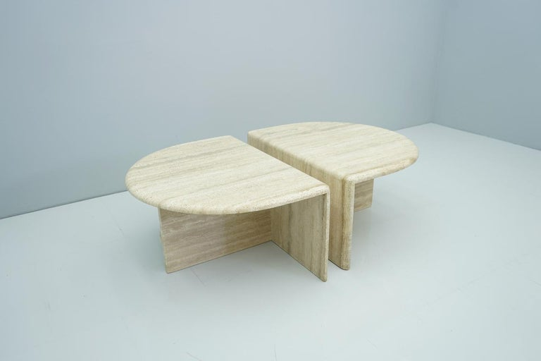 Pair of Twin Travertine Coffee Tables, 1970s For Sale 5