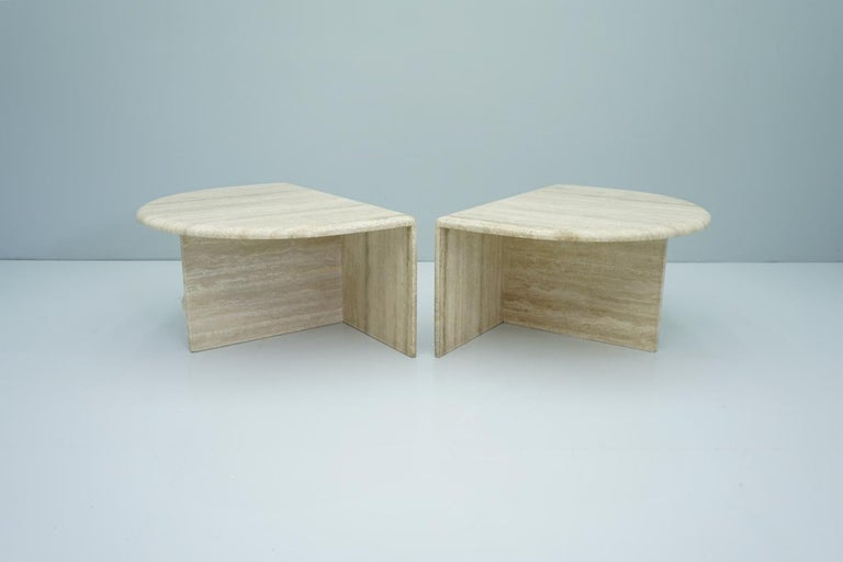 Pair of Twin Travertine Coffee Tables, 1970s For Sale 7