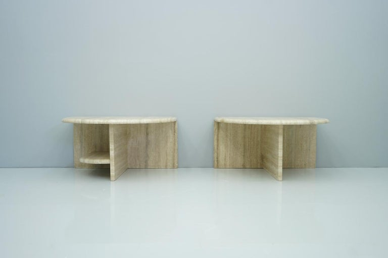 Pair of Twin Travertine Coffee Tables, 1970s For Sale 8