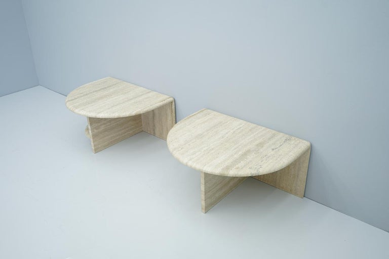 Pair of Twin Travertine Coffee Tables, 1970s For Sale 9