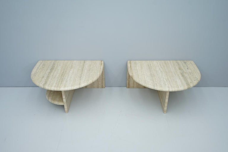 Pair of Twin Travertine Coffee Tables, 1970s For Sale 10