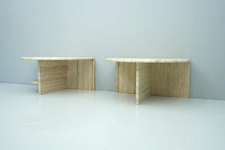 Pair of Twin Travertine Coffee Tables, 1970s For Sale 11