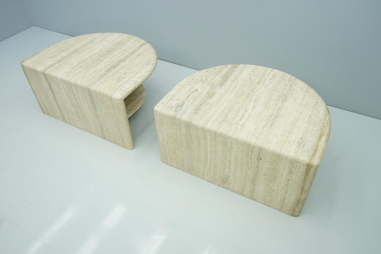 Pair of Twin Travertine Coffee Tables, 1970s For Sale 12