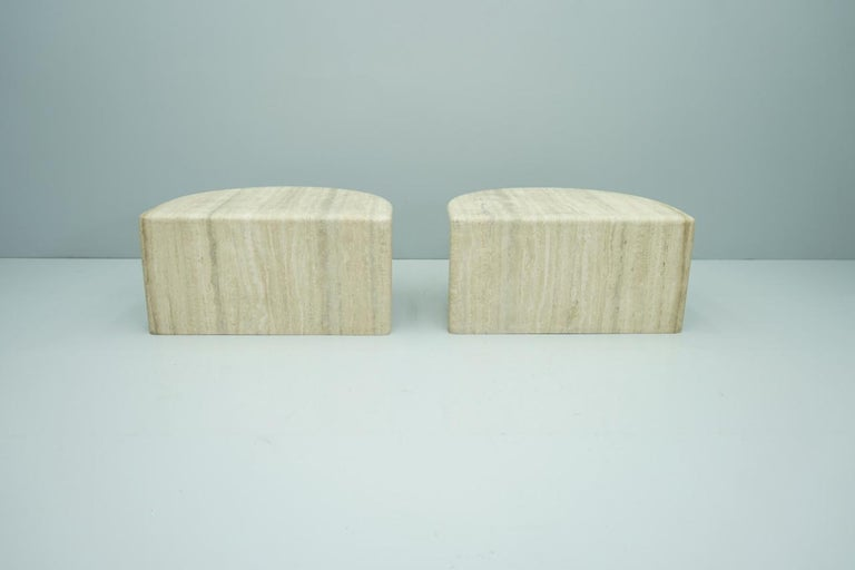 Pair of Twin Travertine Coffee Tables, 1970s For Sale 13