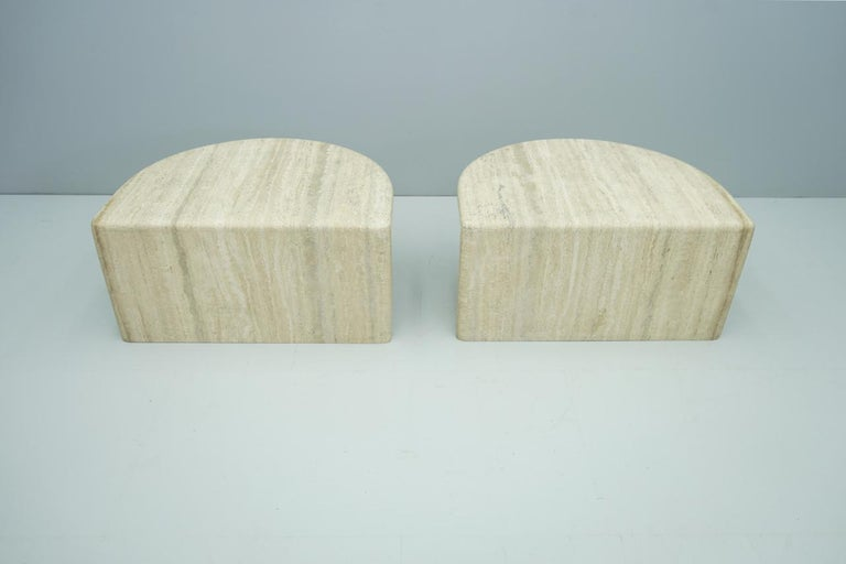 Pair of Twin Travertine Coffee Tables, 1970s For Sale 14