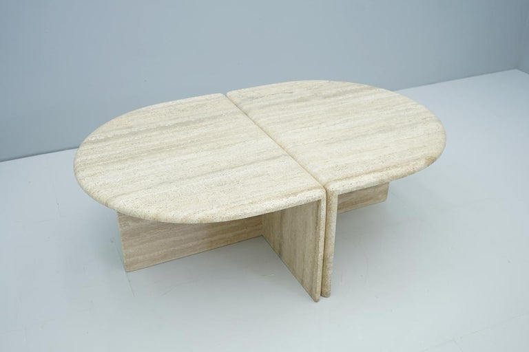 Mid-Century Modern Pair of Twin Travertine Coffee Tables, 1970s For Sale