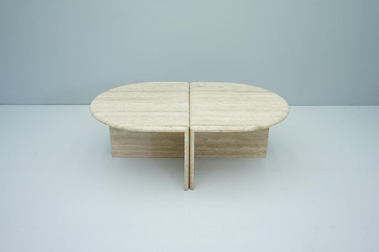 Pair of Twin Travertine Coffee Tables, 1970s For Sale 1