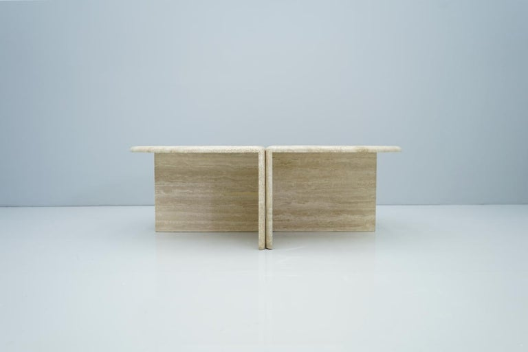 Pair of Twin Travertine Coffee Tables, 1970s For Sale 2