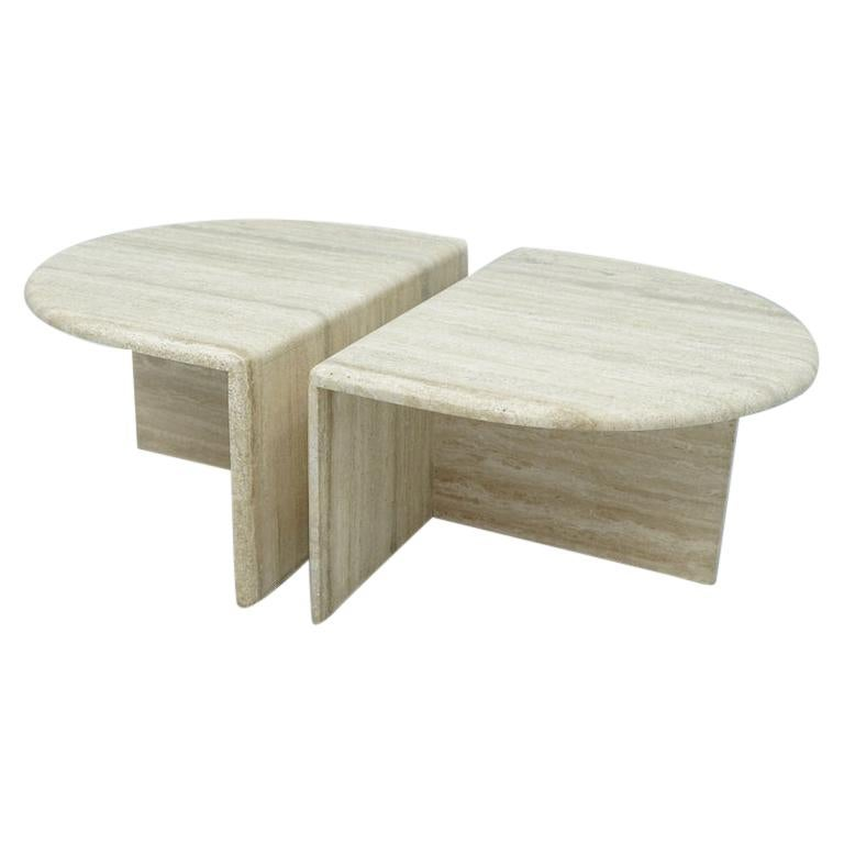 Pair of Twin Travertine Coffee Tables, 1970s For Sale
