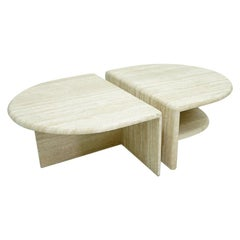Pair of Twin Travertine Coffee Tables, 1970s
