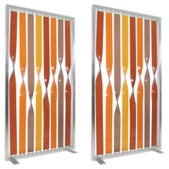 Pair of Twisted Lucite Screens by Simon Bouchard, circa 1970