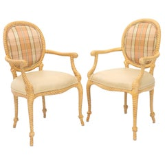 Pair of Twisted Rope Carved Wood Decorative Chairs