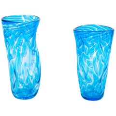 Pair of Twisted Vases in Blown Murano Glass Blue Color with Waves Pattern, Italy