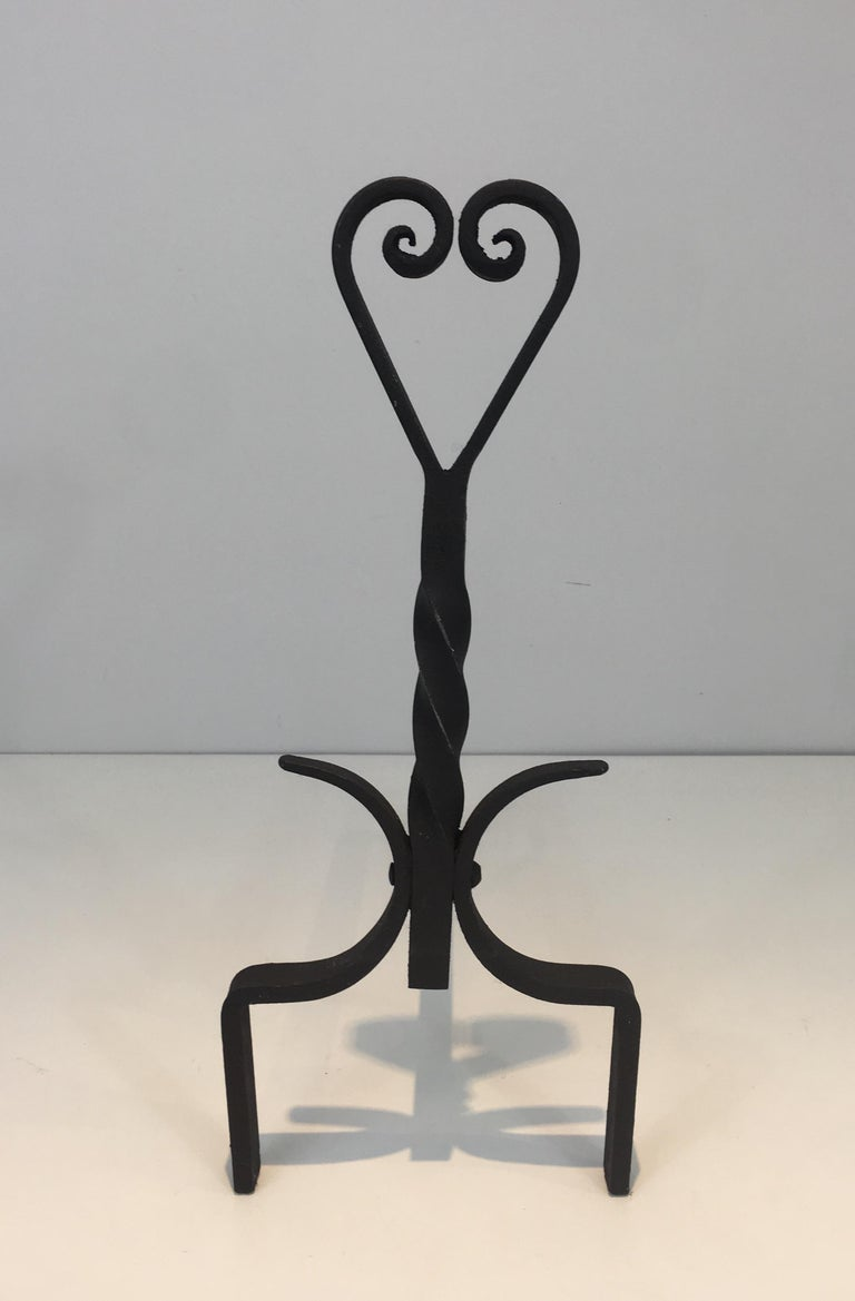 Pair of Twisted Wrought Iron Andirons, French, circa 1940 For Sale 7