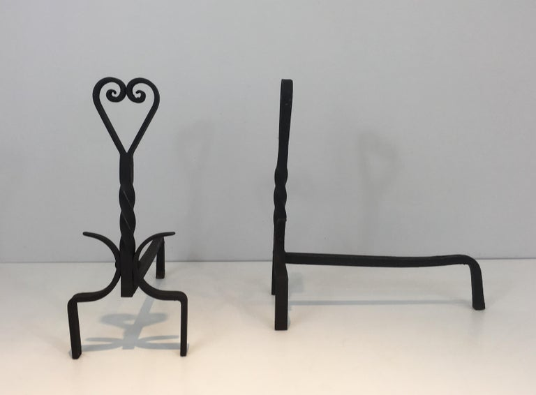 Pair of Twisted Wrought Iron Andirons, French, circa 1940 In Good Condition For Sale In Marcq-en-Baroeul, FR